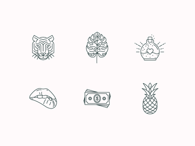 Writer Editor Icons illustration pineapple dollars money bite lips potion leaf monstera tiger monoline icons
