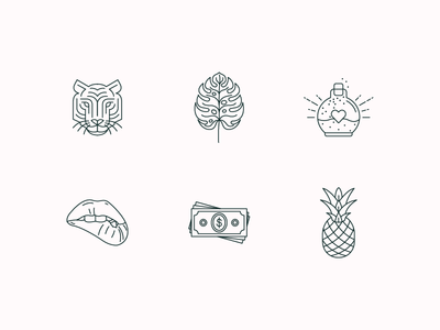 Writer Editor Icons illustration pineapple dollars money bite lips potion leaf monstera tiger monoline icons