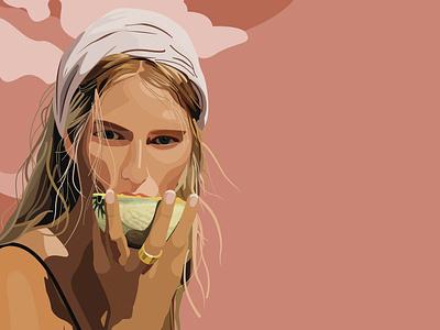 Melon design model illustrator beautiful woman woman fashion graphic design illustration
