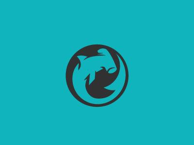Born of Water | Logo branding circle teal hammerhead sea ocean logo shark logo shark