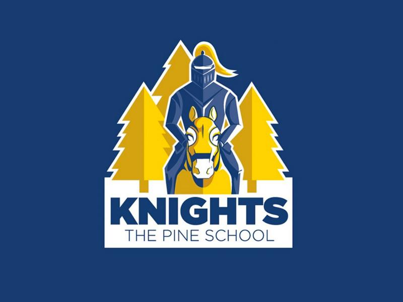 Pine School Knights | Mascot medieval yellow blue sports team sports highschool logo trees pines horse knight mascot