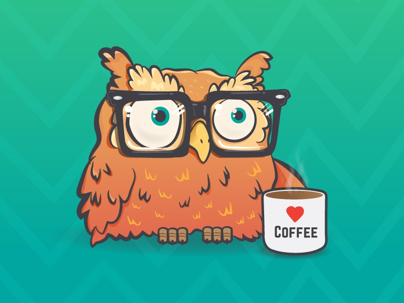 Coffee Owl character illustration cute glasses hipster coffee owl coffee owl