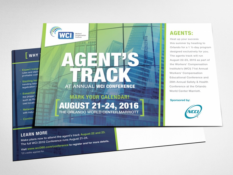 NCCI'S Agent Track Promotional promotional flyer graphic design clean conference professional corporate