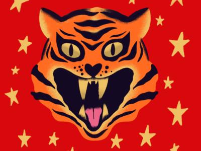 Circus Tiger wild animal illustration stars red head tiger circus
