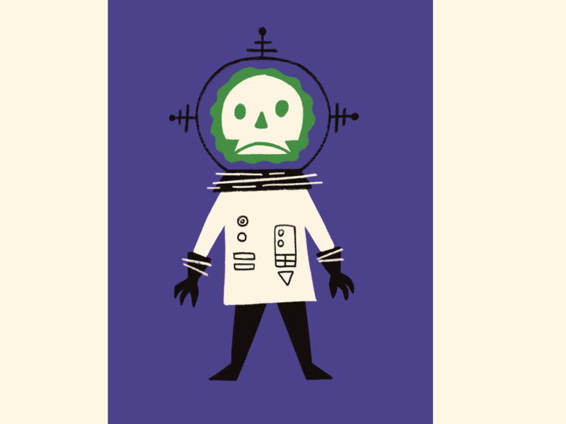 Ghoul Astronaut monster outer space outerspace character vintage retro midcentury astronaut ghoul