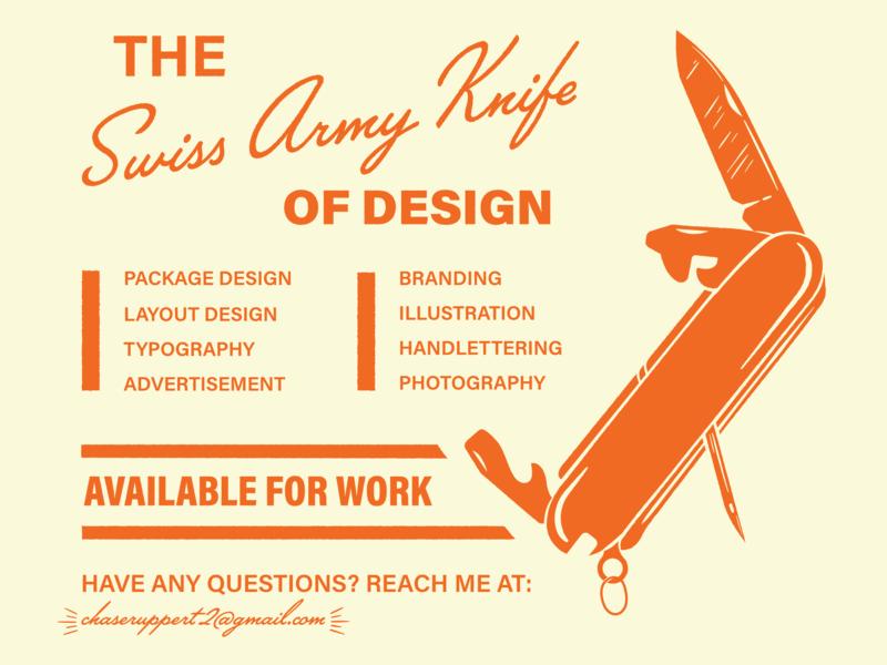 Swiss Army Knife lettering illustration vector design orange brand type knife