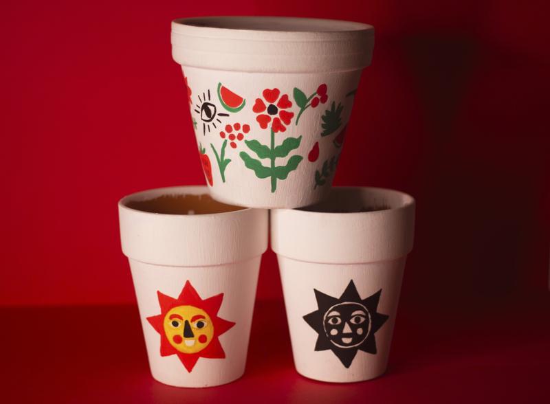 Sunny Days Planters planter hand drawn illustration ceramics
