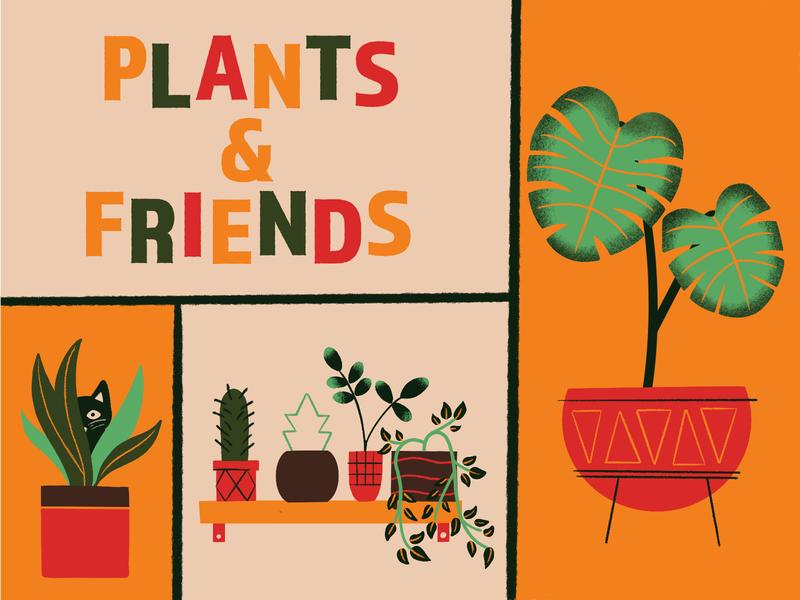Plants And Friends retro midcentury modern cat indoor plants midcentury typography illustration