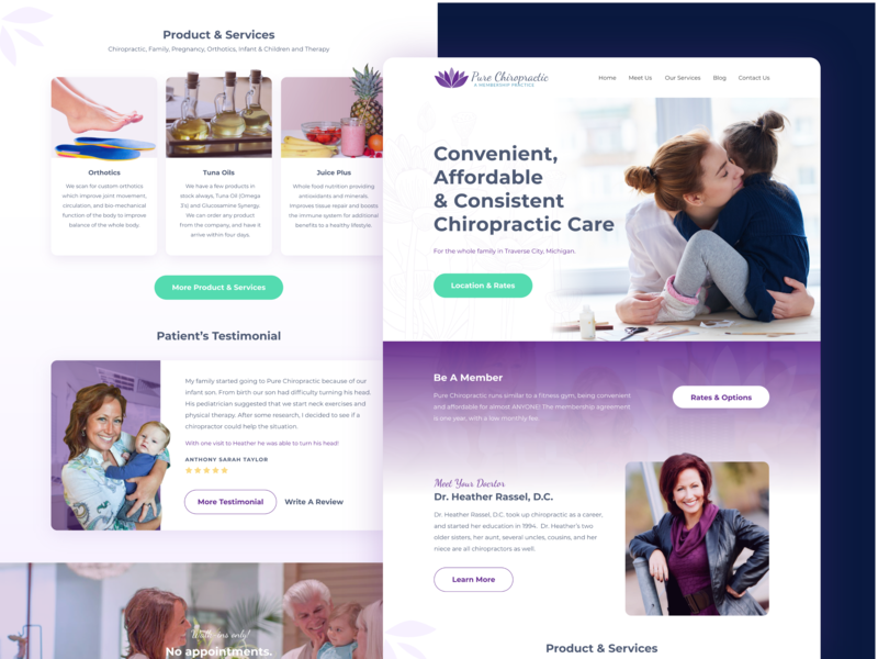 Pure Chiropractic Website violet chiropractic web design homepage health feminine page landing design chiropractic web lotus web  design website
