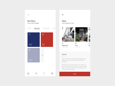 Internal Team Tools list to do profile tabs modern typography iphone x minimal