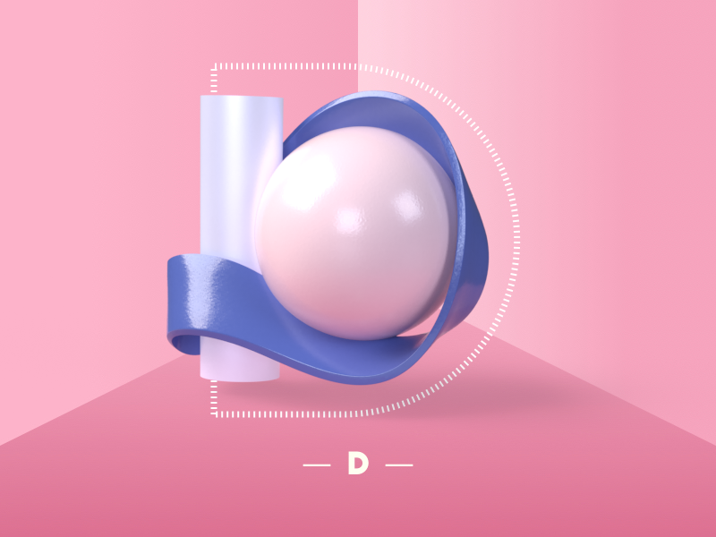 Letter D 3d art 3d render dimensional dimensional type adobedimension sketch custom customtype type letter lettering vector