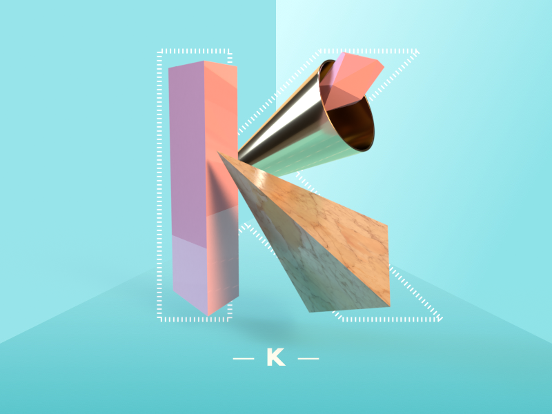 Letter K adobedimension 3d type dimensional type 36daysoftype geometric dimensional customtype shapes render letter custom type 3d type vector lettering