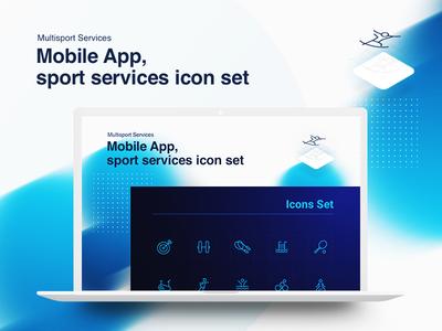 Iconofolio | Multisport mockup iteotem iteo icons line outline gym sport linear set icon