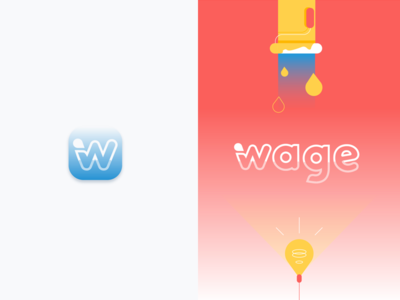 Logofolio | Wage vector shape logo job iteo wage flat colors branding