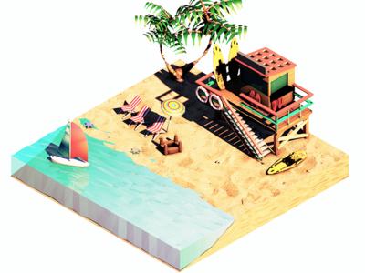 Summer Surfing Beach
