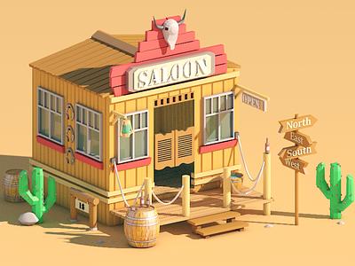 Wild West  illustration c4d saloon western movie design wildwest lowpoly isometric cinema4d