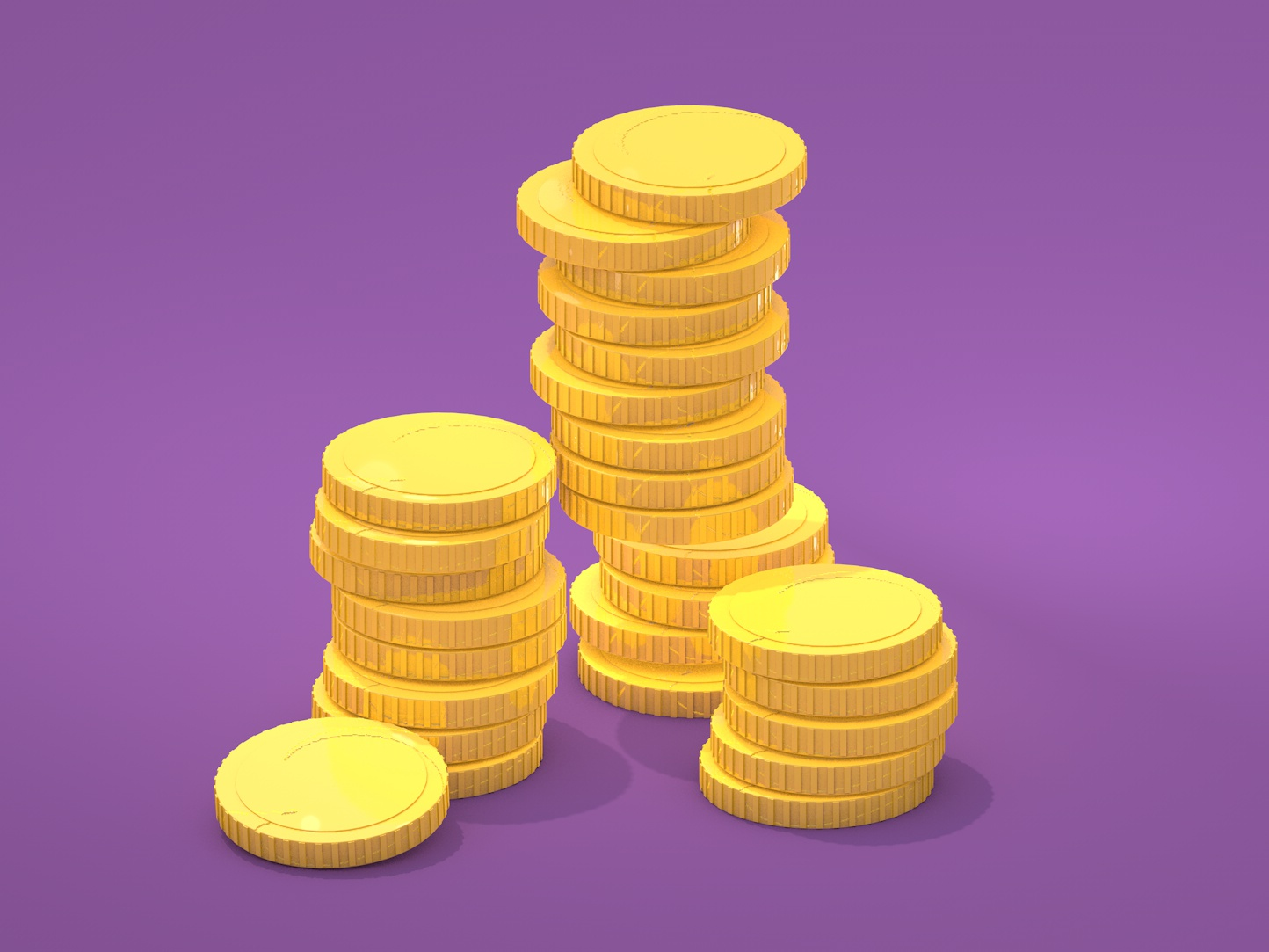 Funny Coins ui c4d modelling cartoon digitalart illustration design lowpoly isometric render cinema4d