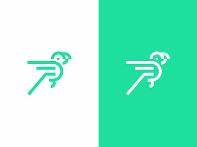 Parrot  wings line design bird logo parrot