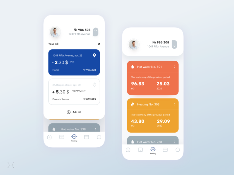 Account for payment of water and electricity ui design ui water electricity app sketch app mobile ios