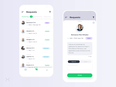 The process of working with employee requests management manager management app motion design motion ux app design mobile ui sketch app ios