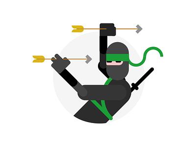Skill No. 138 fast speed scrum flat character japan illustration skill catch dodge arrow ninja
