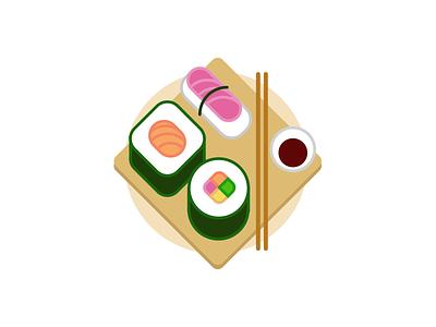 Sushi Place serving plate nori nigiri rice maki sushi flat food japan illustration