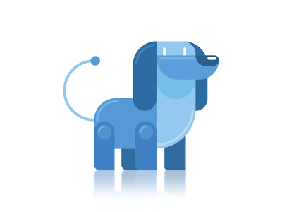 Well trained robotic dog animal ai friend mechanical toy blue character flat simple illustration dog robot
