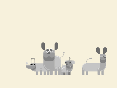 Stray Robot Dogs future machine animal ai pets illustration flat simple dogs dog robot