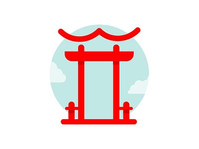 Torii culture bird entrance flat japanese illustration shrine torii gate nippon japan