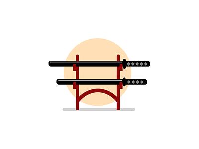 Katana ninja japanese culture tradition japan simple illustration sword katana samurai