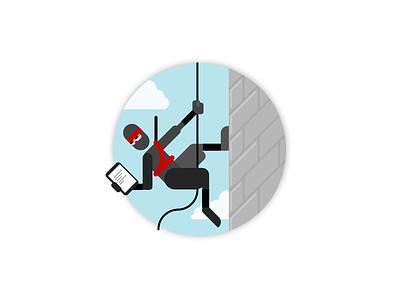 On a secret mission climbing character illustration scrum rope building japan education ninja