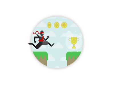 Ninja on the move agile scrum character coin gamification trophy ninja illustration points game