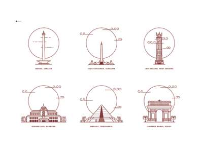 Indonesia Landmark Illustration