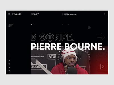 Studio 21 – website redesign concept radio scroll playlist dark typography web photos concept ux ui design