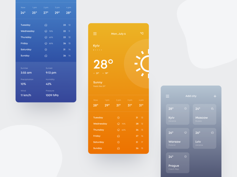 Weather app temperature weather app app weather typography concept ux ui design