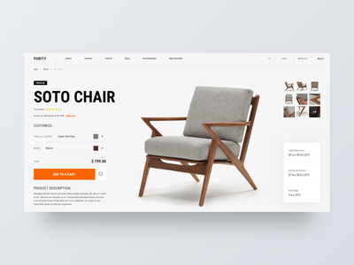 Purity wood furniture chair product card site web ux ui