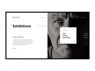 Polees Art Centre art exhibition photoexhibition slider minimalism typography photo black  white design ui ux