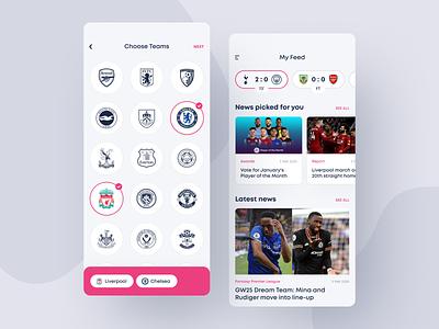 English Premier League app sport news news sport color concept photos ux ui design fantasy football app mobile app mobile