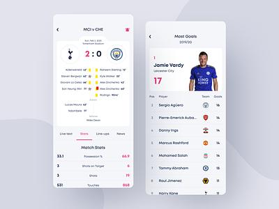 English Premier League app fixtures result sportnews news statistics sport typography design ux ui concept football app