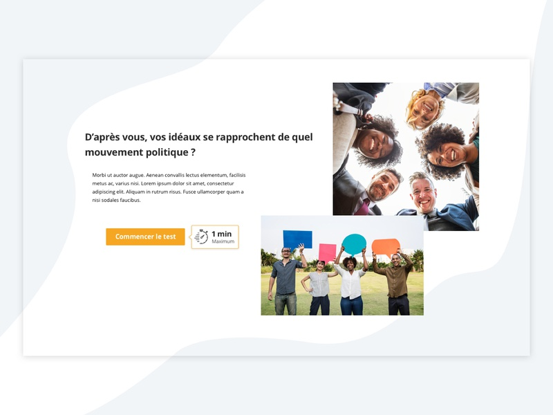 Very simple quiz page ephemeral pop-up site concept branding onepage page minimalistic minimalist europeen europe sites politique political quizz testing test page typography design web ui
