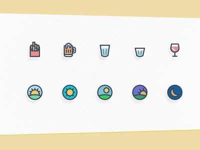 Illustrated Icons illustrated icons line icons day icon sunrise sunset wine icon beer icon icons