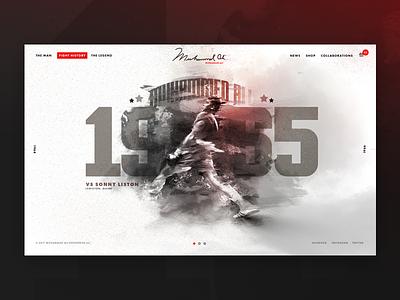 Muhammad Ali Landing Page psd photoshop web ux ui typography illustration nav layout boxing muhammed