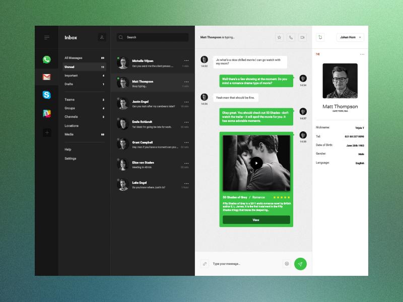 Free Sketch File - Desktop & Mobile Dashboard ux user ui sketch mockup message interface instant grid grey free dashboard