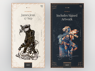 James Jean Gallery Cards design typography cards ui web sketch gallery article mobile editorial