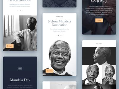 Nelson Mandela Tribute Cards nelson typography web donate mandela cards design ui ux