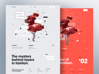 Fashion Details Page - Riding Hood web ux ui typography responsive glitch fashion design campaign desktop app