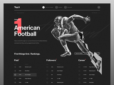 Top 5 Art Direction sport ux ui rankings sponsorship dark web desktop football typography app