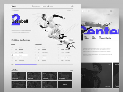 Top 5 Art Direction - Baseball web ux ui typography sport sponsorship rankings football desktop dark app