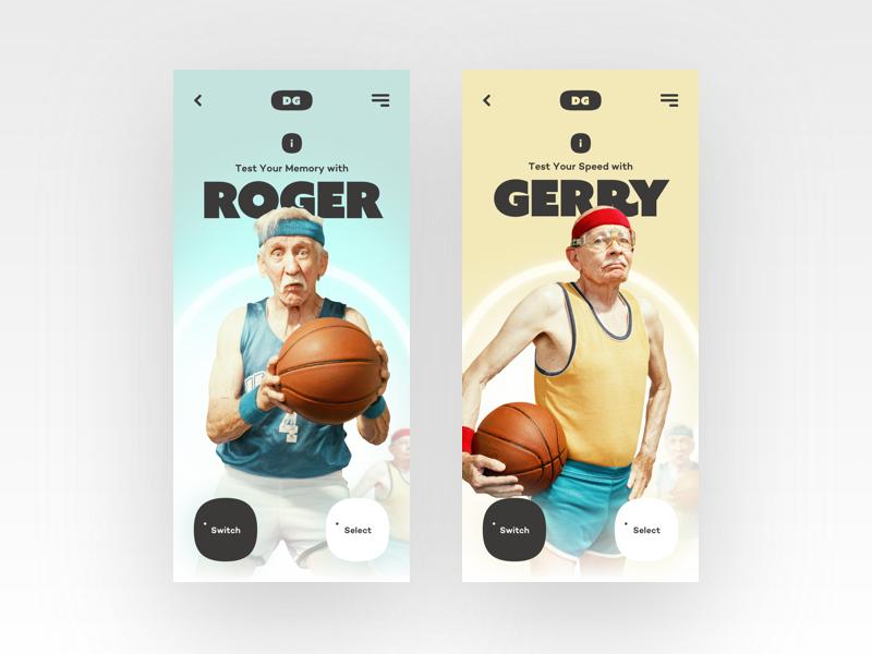 Dementia Game basketball ui cards concept retro mobile game sport card dementia web