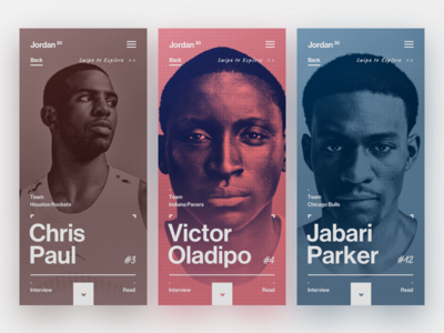 Mobile Art Direction app mobile ui typography overlay cards sport jordan type campaign